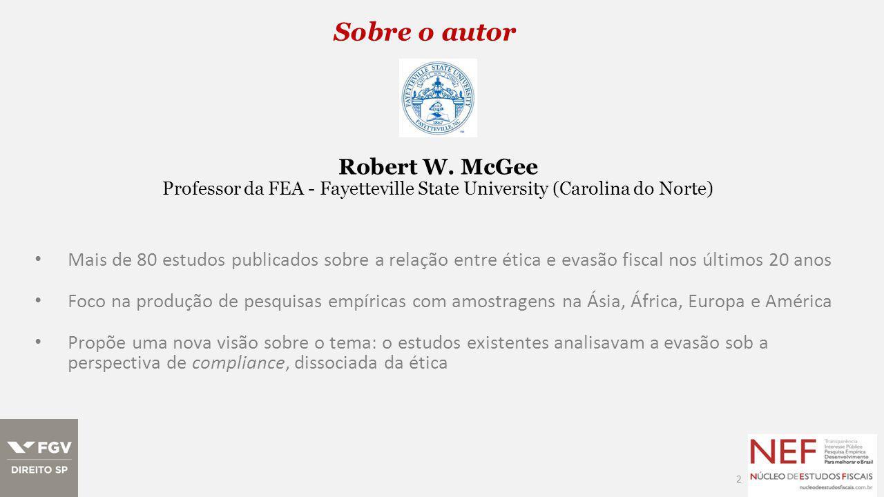 Sobre o autor 3 Publicações sobre América Latina The Ethics of Tax Evasion: A Survey of Hispanic Opinion http://ssrn.com/abstract=997541 Robert McGee Arsen Djatej The Ethics of Tax Evasion: A Survey of Hispanic Opinion http://ssrn.com/abstract=1947032 Robert McGee Arsen M.