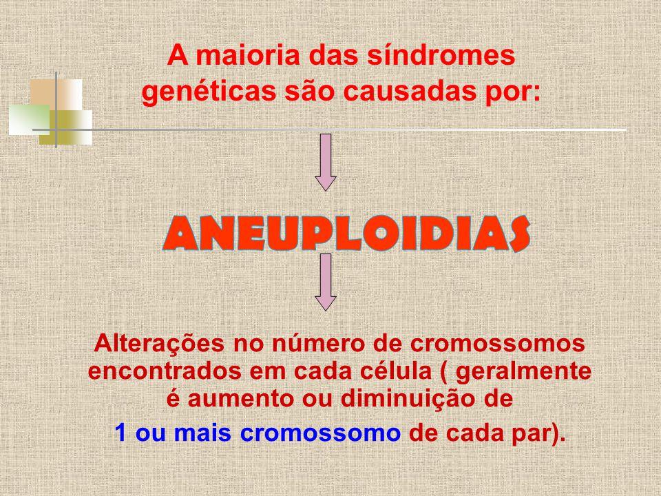 A maioria das síndromes genéticas são causadas por: Alterações no número de cromossomos encontrados em cada célula ( geralmente é aumento ou diminuição de 1 ou mais cromossomo de cada par).