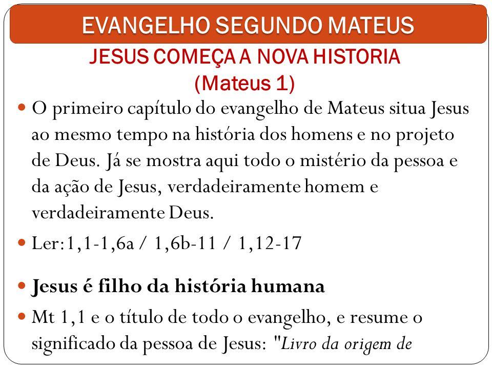 JESUS COMEÇA A NOVA HISTORIA (Mateus 1) O primeiro capítulo do evangelho de Mateus situa Jesus ao mesmo tempo na história dos homens e no projeto de D