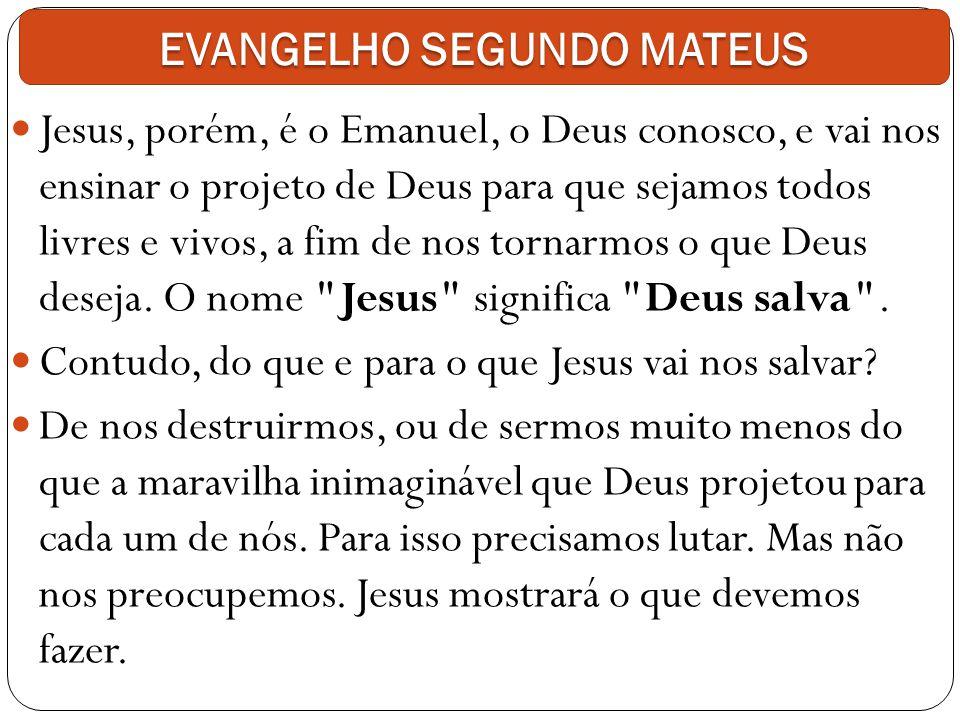 Jesus, porém, é o Emanuel, o Deus conosco, e vai nos ensinar o projeto de Deus para que sejamos todos livres e vivos, a fim de nos tornarmos o que Deu