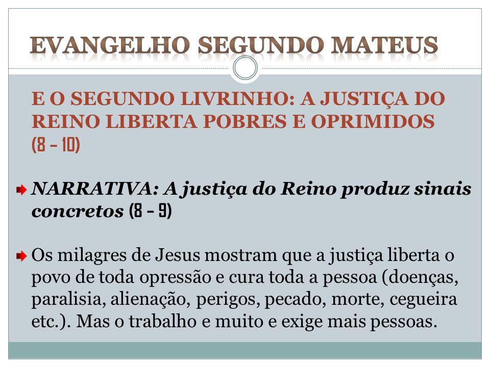 E O SEGUNDO LIVRINHO: A JUSTIÇA DO REINO LIBERTA POBRES E OPRIMIDOS (8 – 10) NARRATIVA: A justiça do Reino produz sinais concretos (8 – 9) Os milagres