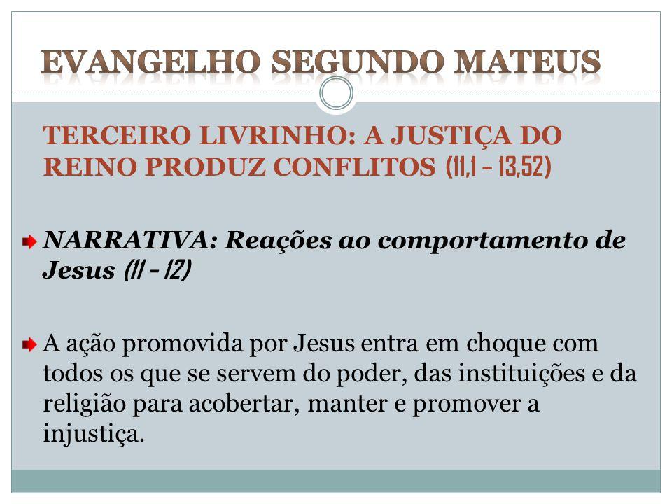TERCEIRO LIVRINHO: A JUSTIÇA DO REINO PRODUZ CONFLITOS (11,1 – 13,52) NARRATIVA: Reações ao comportamento de Jesus (11 – 12) A ação promovida por Jesu
