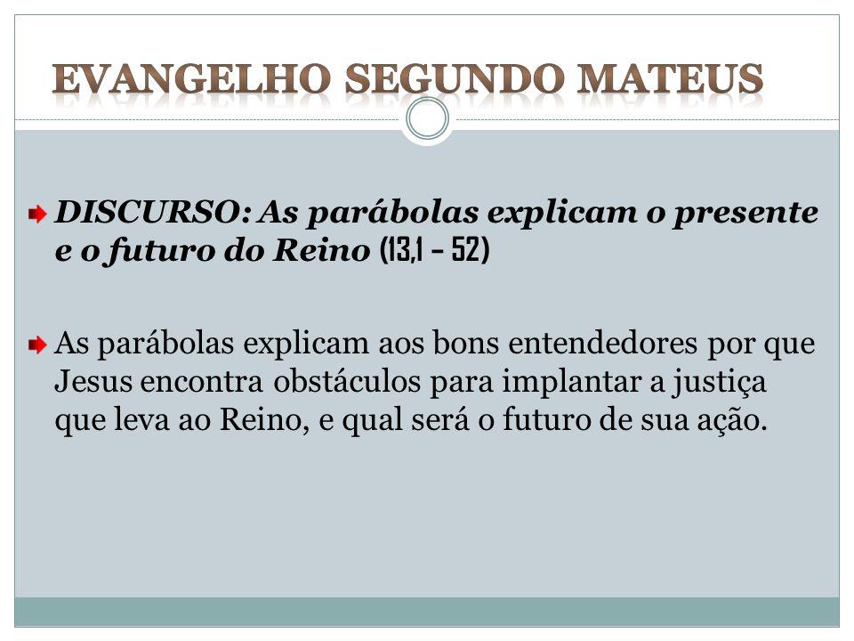 DISCURSO: As parábolas explicam o presente e o futuro do Reino (13,1 – 52) As parábolas explicam aos bons entendedores por que Jesus encontra obstácul