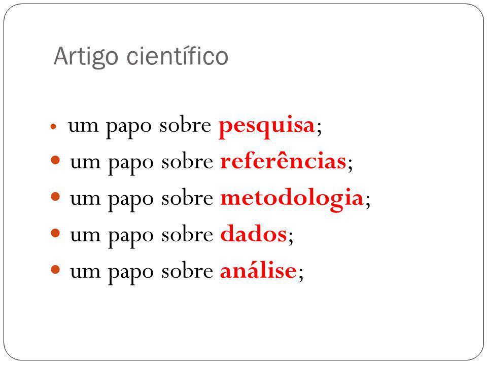 Artigo científico um papo sobre pesquisa; um papo sobre referências; um papo sobre metodologia; um papo sobre dados; um papo sobre análise;