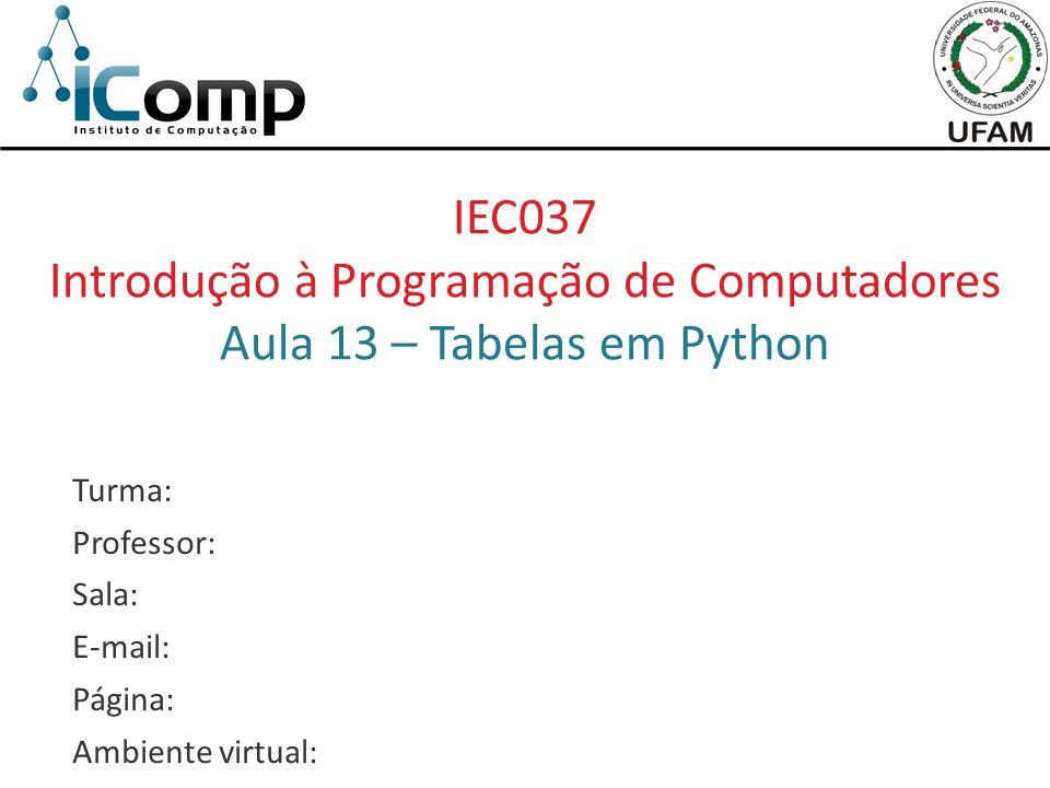IEC037 Introdução à Programação de Computadores Aula 13 – Tabelas em Python Turma: Professor: Sala: E-mail: Página: Ambiente virtual: