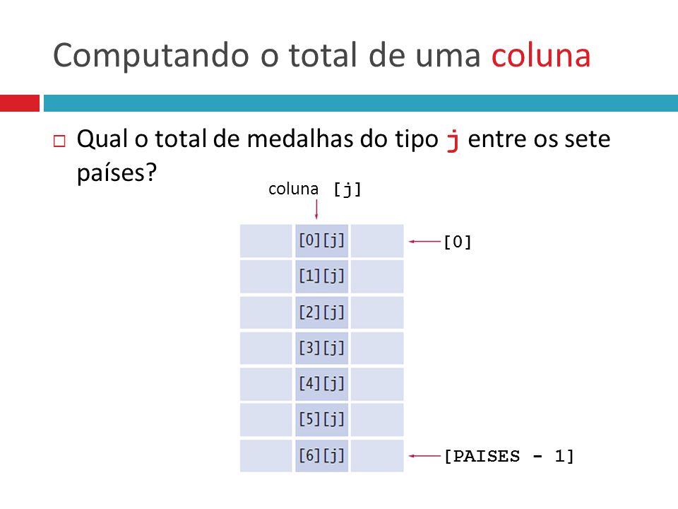 Computando o total de uma coluna  Qual o total de medalhas do tipo j entre os sete países? coluna [j] [0] [PAISES - 1]