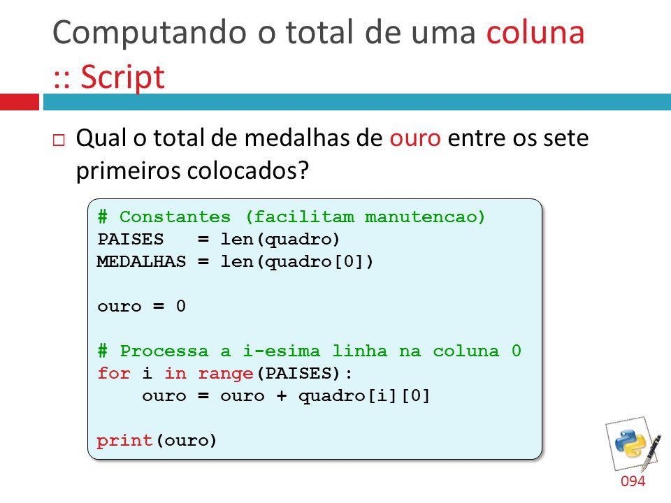 Computando o total de uma coluna :: Script  Qual o total de medalhas de ouro entre os sete primeiros colocados? # Constantes (facilitam manutencao) P