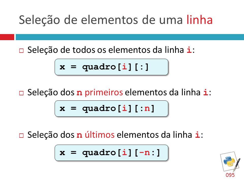 Seleção de elementos de uma linha  Seleção de todos os elementos da linha i :  Seleção dos n primeiros elementos da linha i :  Seleção dos n último