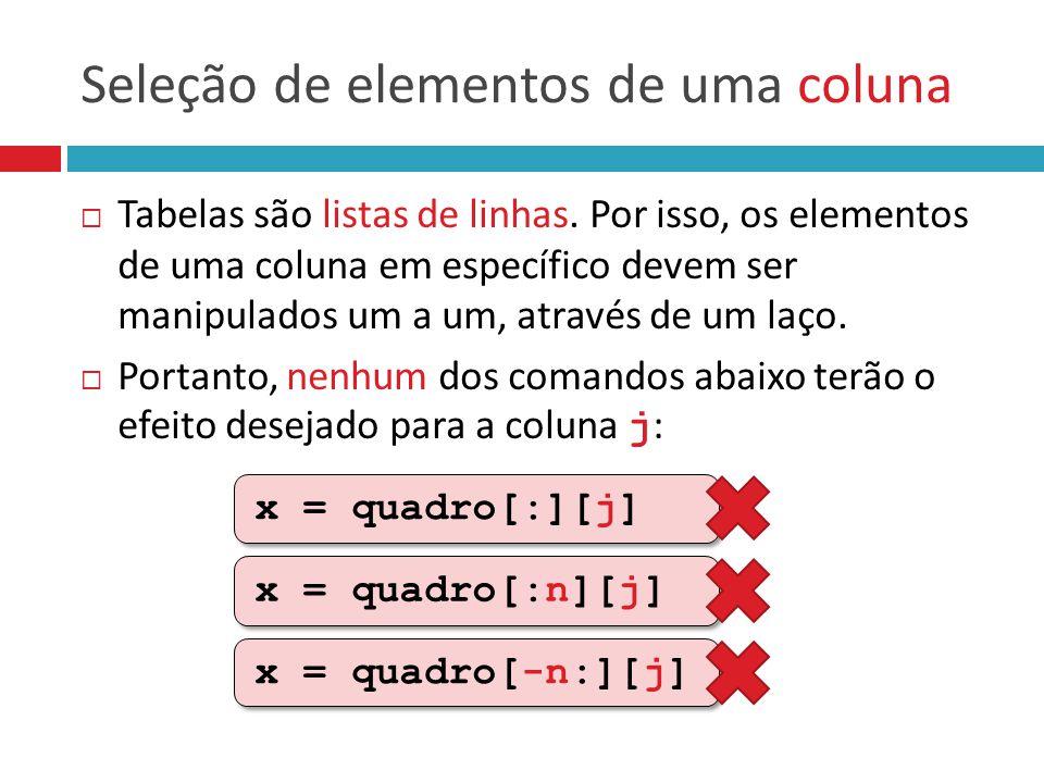 Seleção de elementos de uma coluna  Tabelas são listas de linhas. Por isso, os elementos de uma coluna em específico devem ser manipulados um a um, a
