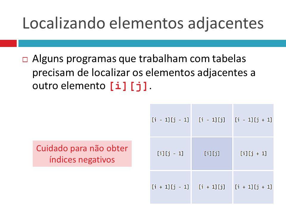 Localizando elementos adjacentes  Alguns programas que trabalham com tabelas precisam de localizar os elementos adjacentes a outro elemento [i][j]. C