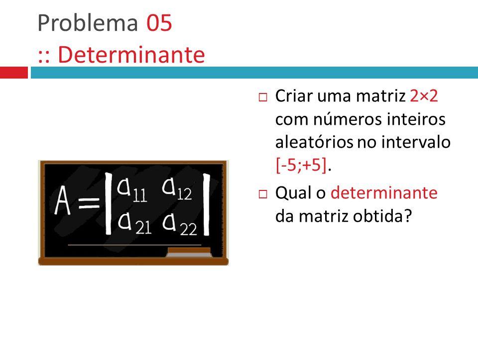 Problema 05 :: Determinante  Criar uma matriz 2×2 com números inteiros aleatórios no intervalo [-5;+5].  Qual o determinante da matriz obtida?