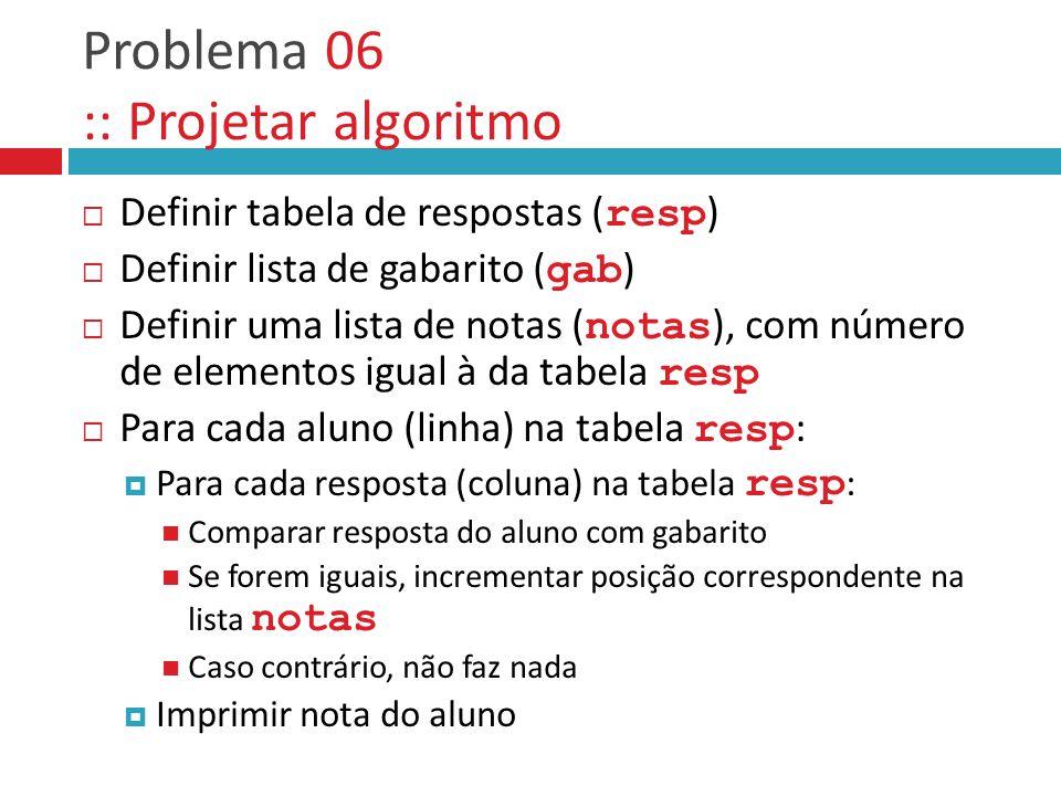 Problema 06 :: Projetar algoritmo  Definir tabela de respostas ( resp )  Definir lista de gabarito ( gab )  Definir uma lista de notas ( notas ), c