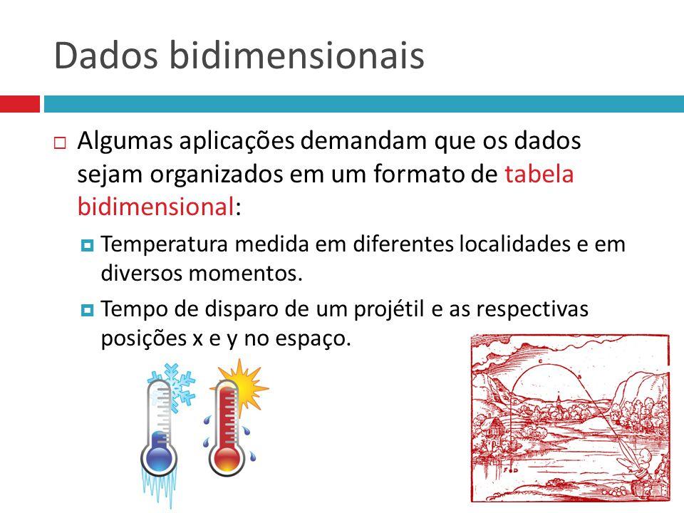 Dados bidimensionais  Algumas aplicações demandam que os dados sejam organizados em um formato de tabela bidimensional:  Temperatura medida em difer