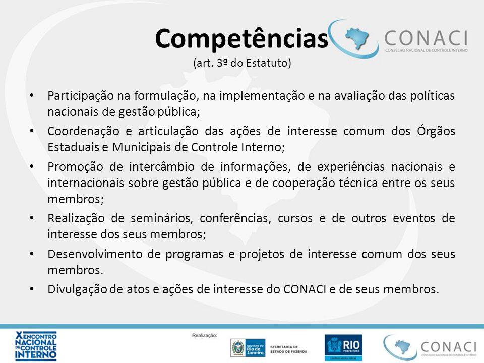 Competências (art. 3º do Estatuto) Participação na formulação, na implementação e na avaliação das políticas nacionais de gestão pública; Coordenação