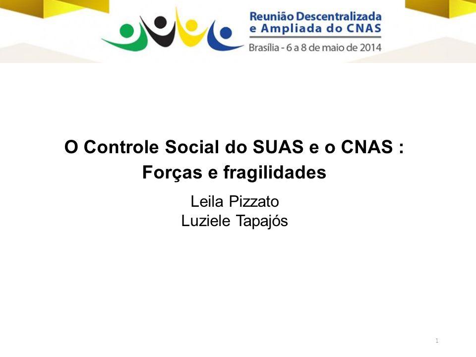 1 O Controle Social do SUAS e o CNAS : Forças e fragilidades Leila Pizzato Luziele Tapajós