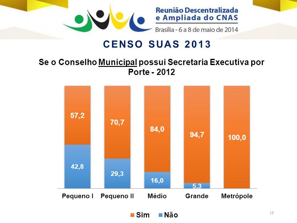 19 Se o Conselho Municipal possui Secretaria Executiva por Porte - 2012 CENSO SUAS 2013