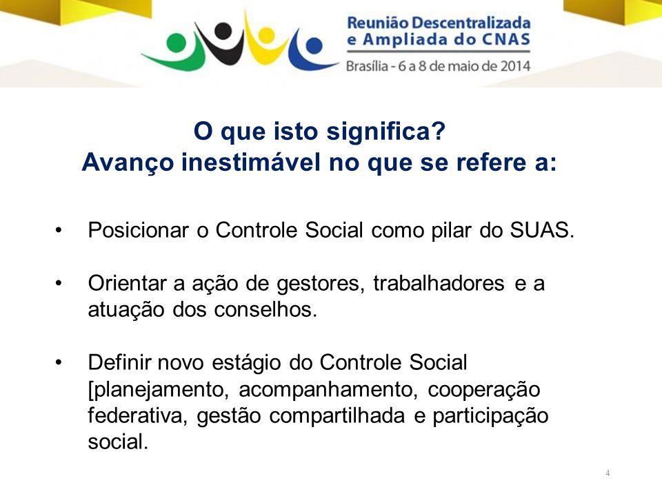 4 Posicionar o Controle Social como pilar do SUAS.
