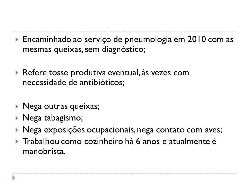  Encaminhado ao serviço de pneumologia em 2010 com as mesmas queixas, sem diagnóstico;  Refere tosse produtiva eventual, às vezes com necessidade de