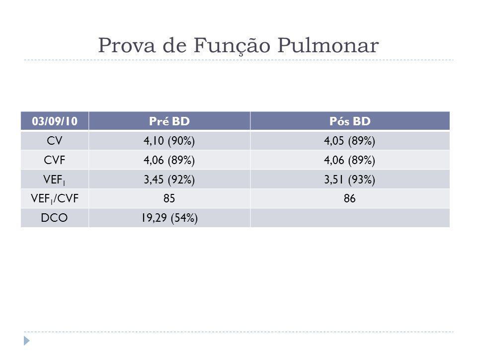 Prova de Função Pulmonar 03/09/10Pré BDPós BD CV4,10 (90%)4,05 (89%) CVF4,06 (89%) VEF 1 3,45 (92%)3,51 (93%) VEF 1 /CVF8586 DCO19,29 (54%)