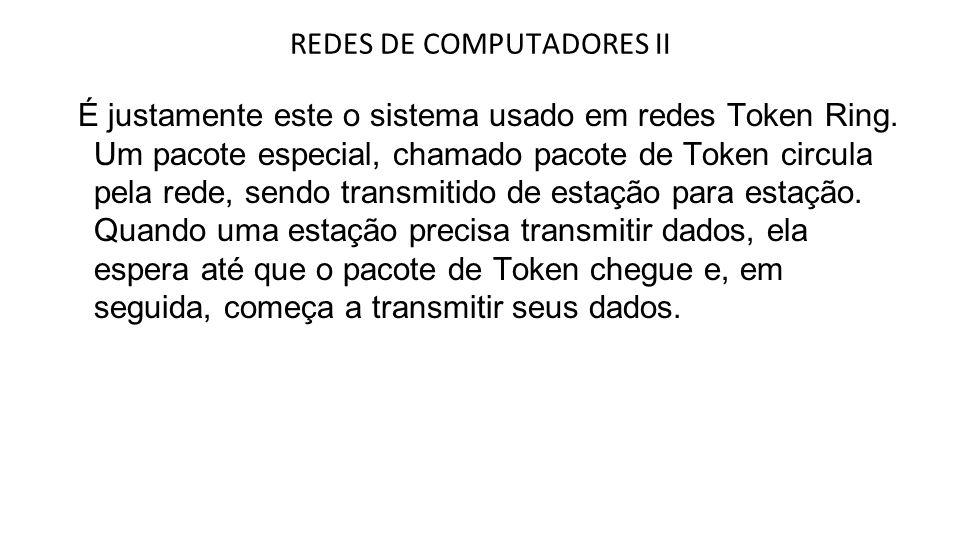 A transmissão de dados em redes Token também é diferente.