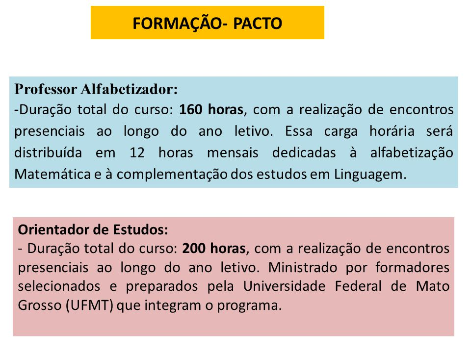 FORMAÇÃO- PACTO Professor Alfabetizador: -Duração total do curso: 160 horas, com a realização de encontros presenciais ao longo do ano letivo. Essa ca