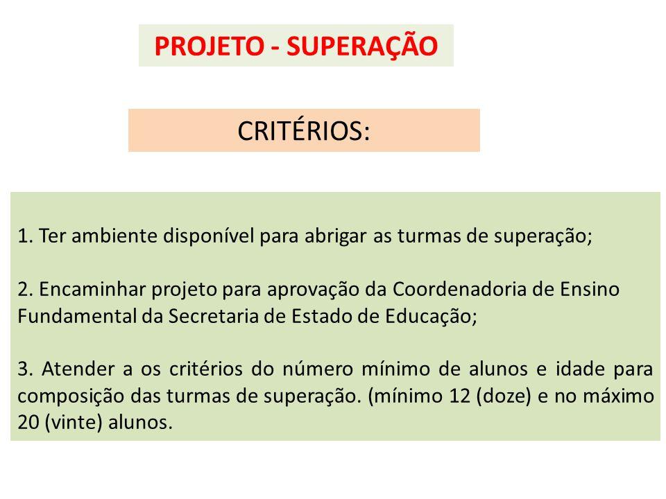 1. Ter ambiente disponível para abrigar as turmas de superação; 2. Encaminhar projeto para aprovação da Coordenadoria de Ensino Fundamental da Secreta