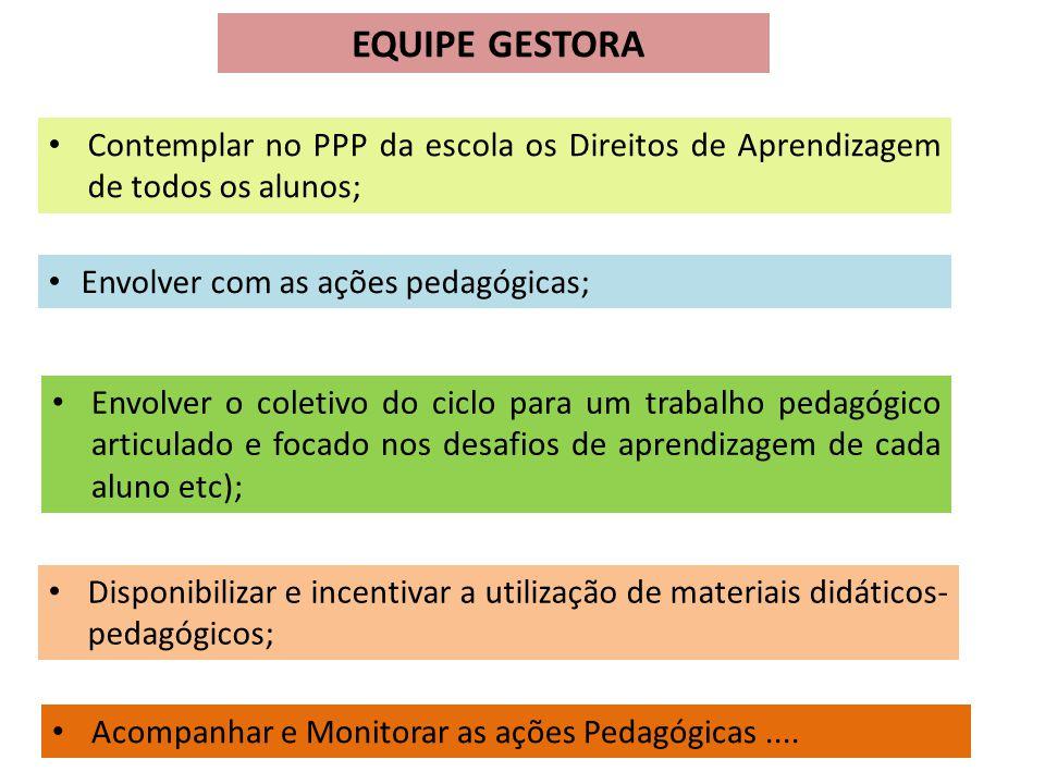 EQUIPE GESTORA Disponibilizar e incentivar a utilização de materiais didáticos- pedagógicos; Contemplar no PPP da escola os Direitos de Aprendizagem d