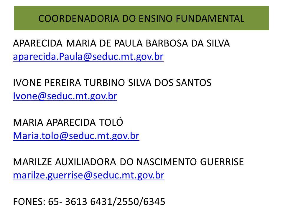 COORDENADORIA DO ENSINO FUNDAMENTAL APARECIDA MARIA DE PAULA BARBOSA DA SILVA aparecida.Paula@seduc.mt.gov.br IVONE PEREIRA TURBINO SILVA DOS SANTOS I