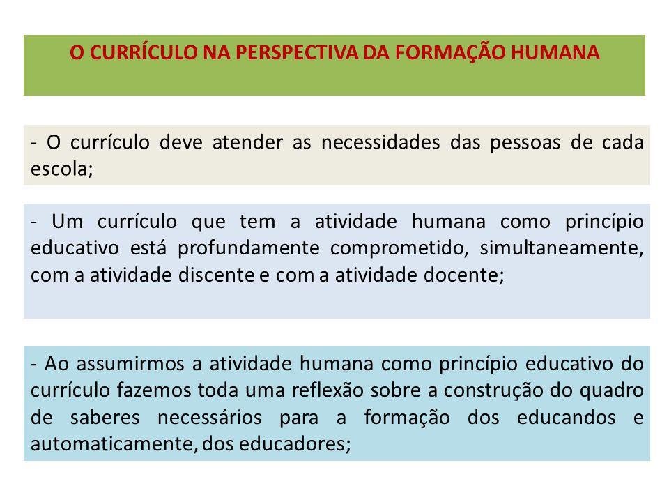 O CURRÍCULO NA PERSPECTIVA DA FORMAÇÃO HUMANA - O currículo deve atender as necessidades das pessoas de cada escola; - Um currículo que tem a atividad