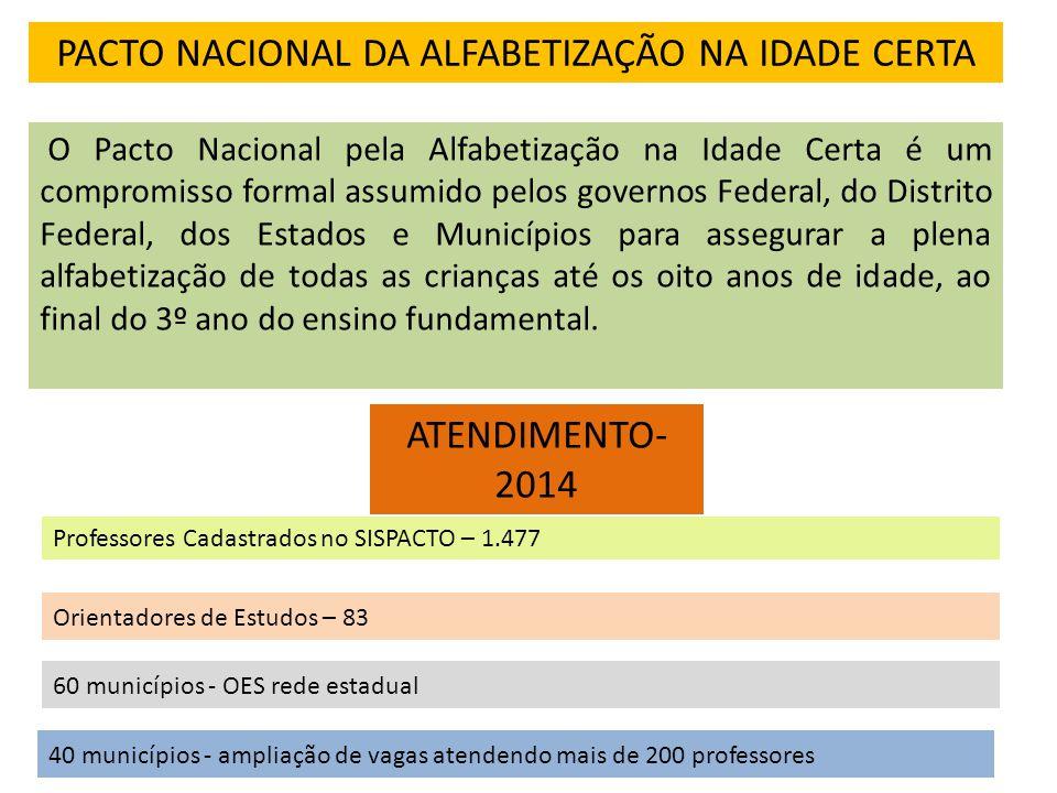 FORMAÇÃO- PACTO Professor Alfabetizador: -Duração total do curso: 160 horas, com a realização de encontros presenciais ao longo do ano letivo.