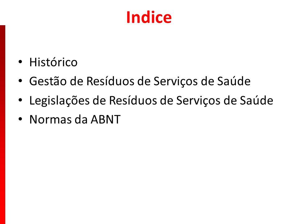 Indice Histórico Gestão de Resíduos de Serviços de Saúde Legislações de Resíduos de Serviços de Saúde Normas da ABNT