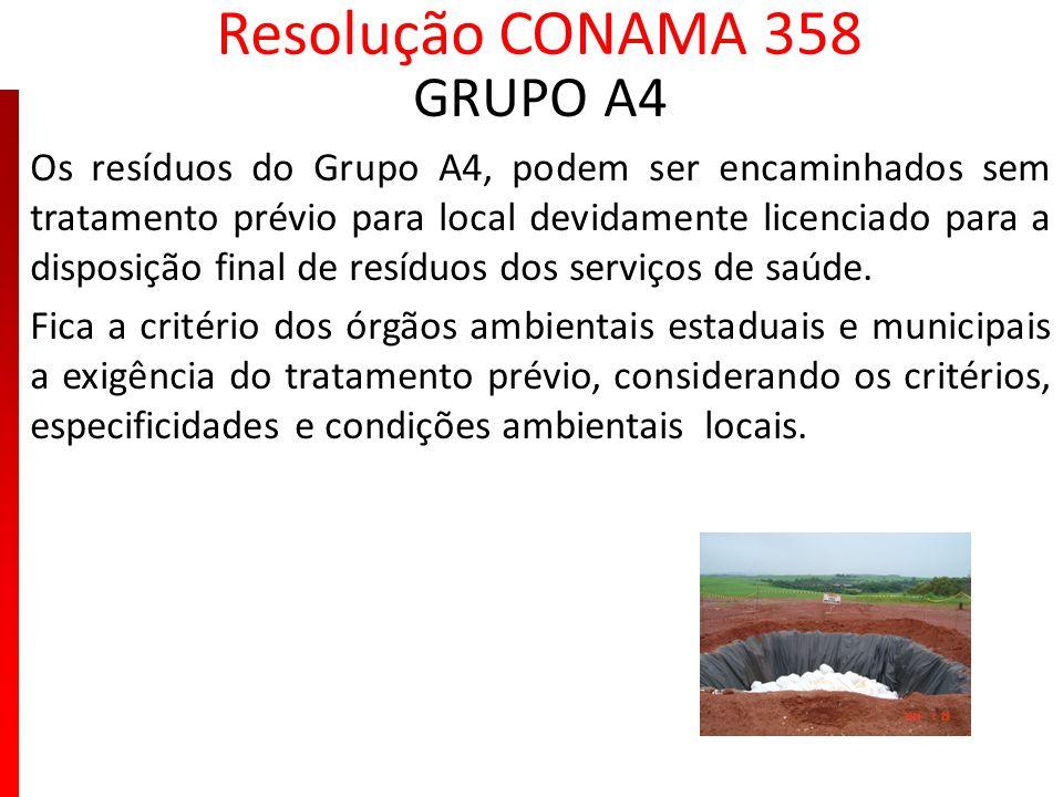 Resolução CONAMA 358 GRUPO A4 Os resíduos do Grupo A4, podem ser encaminhados sem tratamento prévio para local devidamente licenciado para a disposiçã