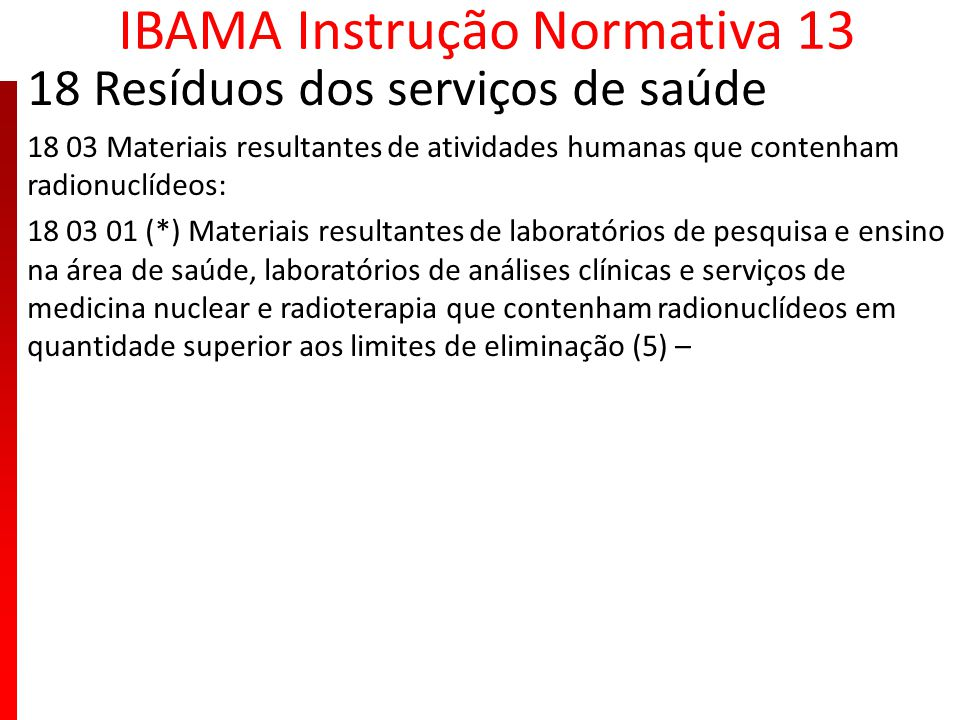 IBAMA Instrução Normativa 13 18 Resíduos dos serviços de saúde 18 03 Materiais resultantes de atividades humanas que contenham radionuclídeos: 18 03 0
