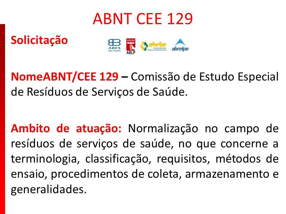 ABNT CEE 129 Solicitação NomeABNT/CEE 129 – Comissão de Estudo Especial de Resíduos de Serviços de Saúde. Ambito de atuação: Normalização no campo de