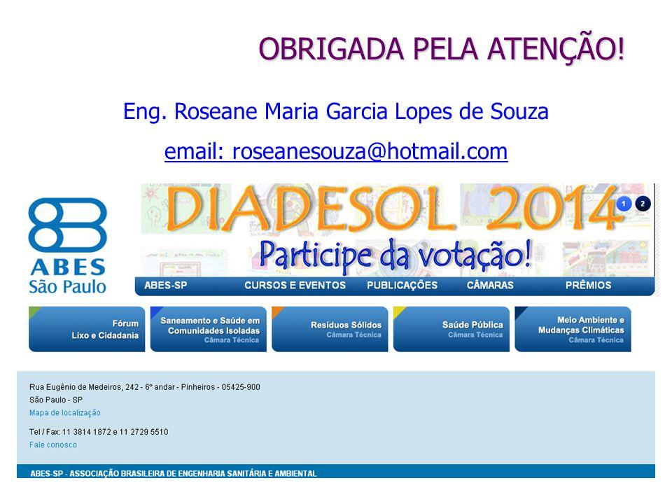 Eng. Roseane Maria Garcia Lopes de Souza email: roseanesouza@hotmail.com OBRIGADA PELA ATENÇÃO!