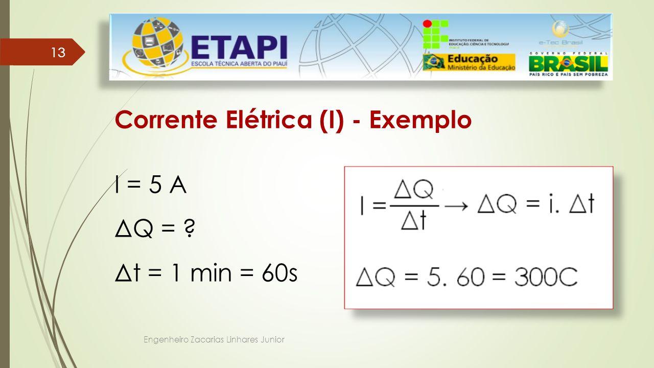 Engenheiro Zacarias Linhares Junior 13 Corrente Elétrica (I) - Exemplo I = 5 A ΔQ = .