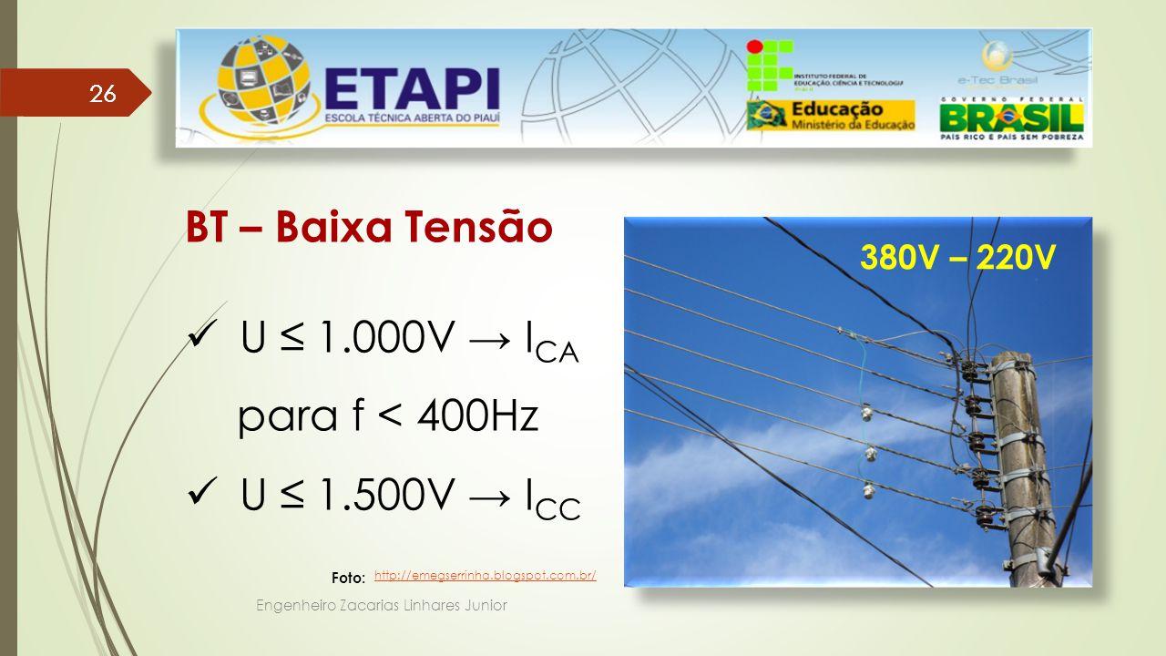 Engenheiro Zacarias Linhares Junior 26 BT – Baixa Tensão U ≤ 1.000V → I CA para f < 400Hz U ≤ 1.500V → I CC 380V – 220V http://emegserrinha.blogspot.com.br/ Foto: