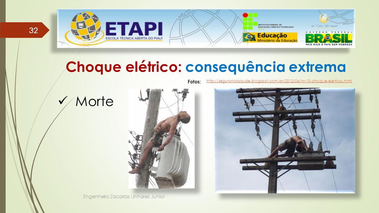 Engenheiro Zacarias Linhares Junior 32 Choque elétrico: consequência extrema Morte Fotos: http://segurancasaude.blogspot.com.br/2012/06/nr-10-choque-eletrico.html