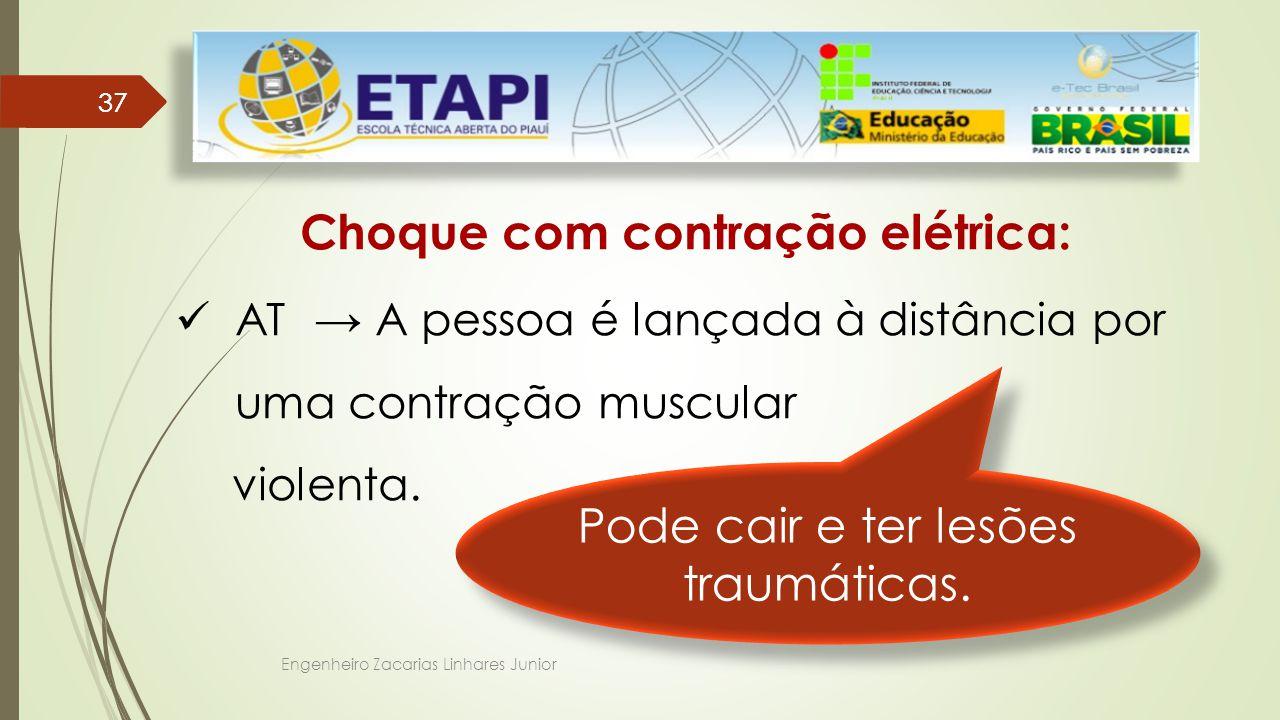 Engenheiro Zacarias Linhares Junior 37 Choque com contração elétrica: AT → A pessoa é lançada à distância por uma contração muscular violenta.