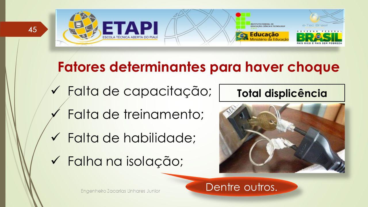 Engenheiro Zacarias Linhares Junior 45 Fatores determinantes para haver choque Falta de capacitação; Falta de treinamento; Falta de habilidade; Falha na isolação; Total displicência Dentre outros.
