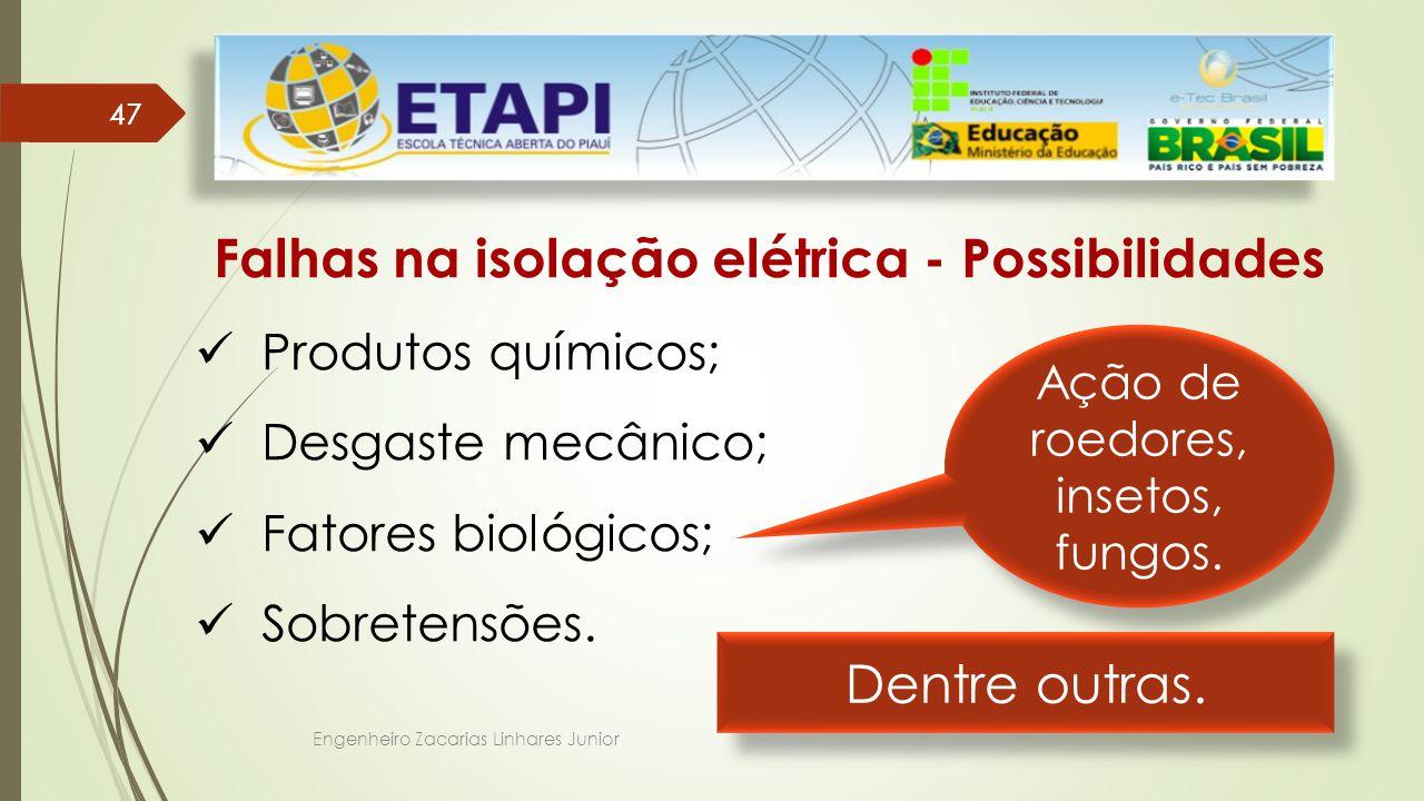 Engenheiro Zacarias Linhares Junior 47 Falhas na isolação elétrica - Possibilidades Produtos químicos; Desgaste mecânico; Fatores biológicos; Sobretensões.