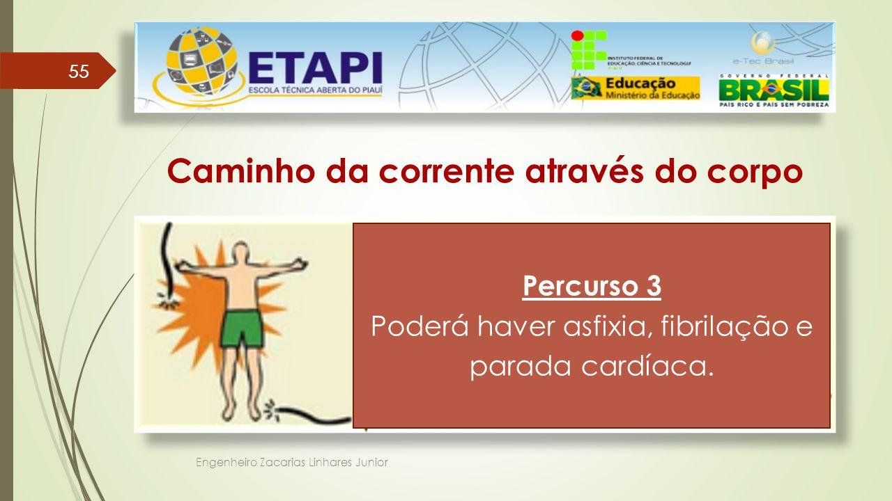 Engenheiro Zacarias Linhares Junior 55 Caminho da corrente através do corpo Percurso 3 A corrente entra por uma das mãos e sai por um dos pés.