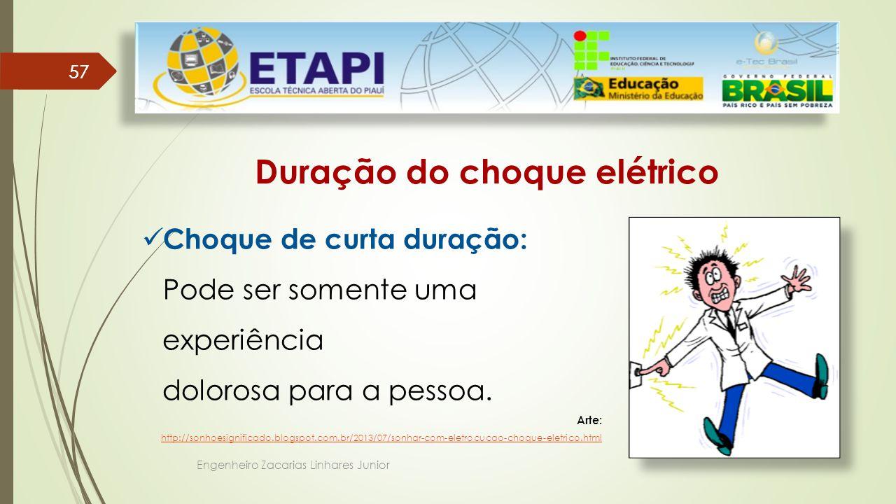 Engenheiro Zacarias Linhares Junior 57 Duração do choque elétrico Choque de curta duração: Pode ser somente uma experiência dolorosa para a pessoa.