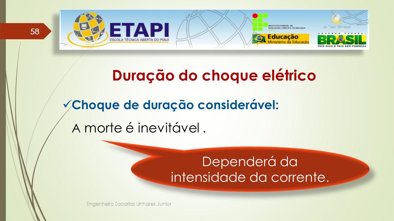Engenheiro Zacarias Linhares Junior 58 Duração do choque elétrico Choque de duração considerável: A morte é inevitável.