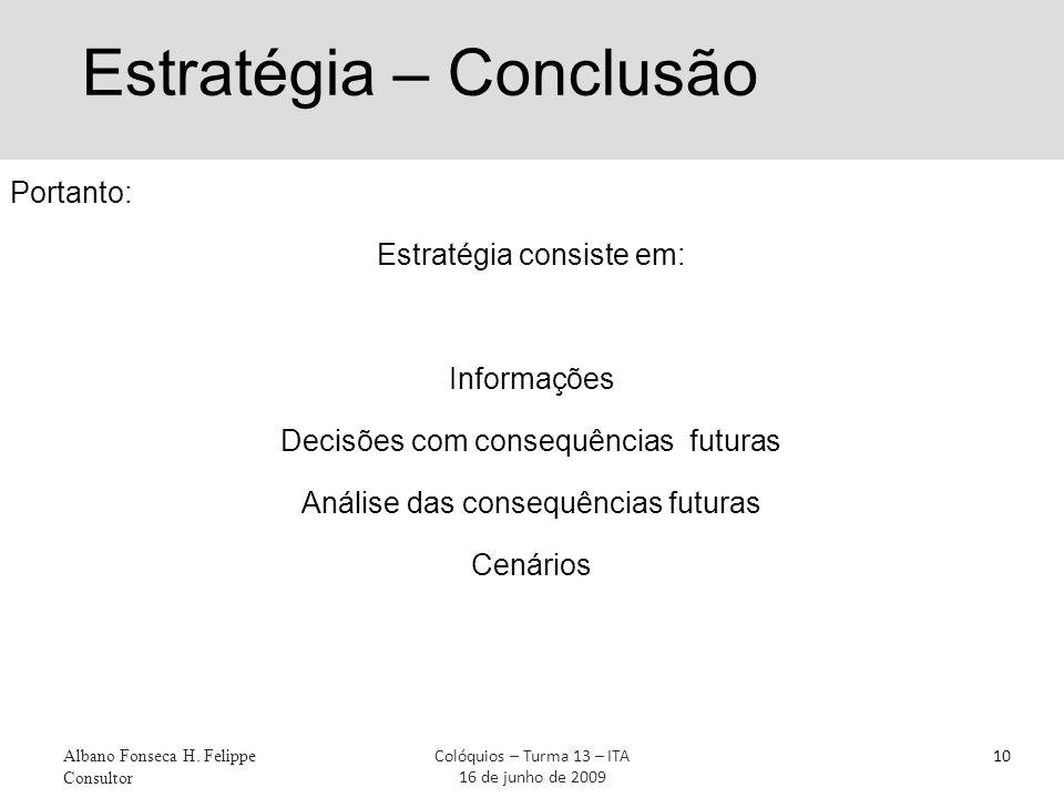 Estratégia – Conclusão Portanto: Estratégia consiste em: Informações Decisões com consequências futuras Análise das consequências futuras Cenários Albano Fonseca H.
