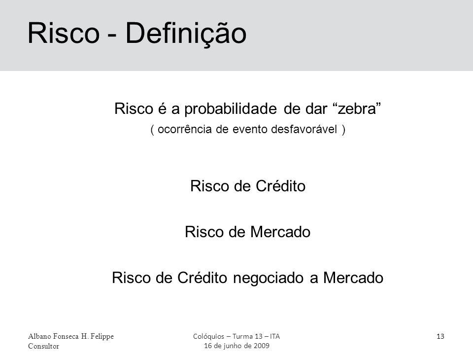 """Risco - Definição Albano Fonseca H. Felippe Consultor 13Colóquios – Turma 13 – ITA 16 de junho de 2009 Risco é a probabilidade de dar """"zebra"""" ( ocorrê"""