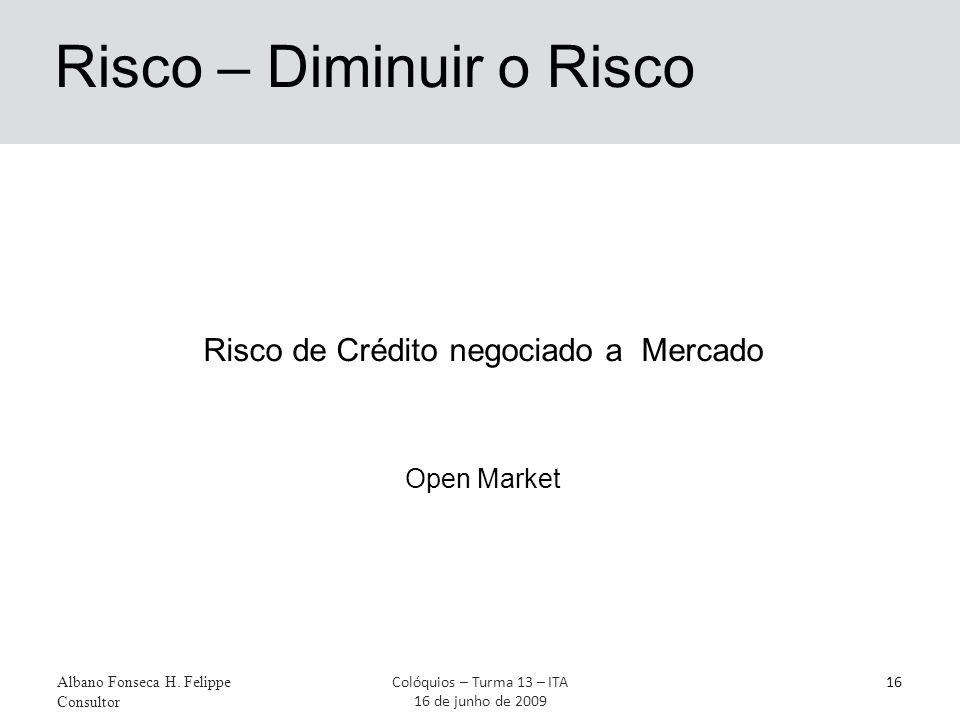 Risco – Diminuir o Risco Albano Fonseca H. Felippe Consultor 16Colóquios – Turma 13 – ITA 16 de junho de 2009 Risco de Crédito negociado a Mercado Ope