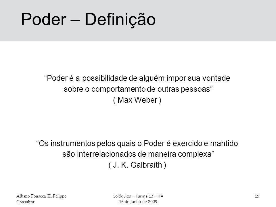 Poder – Definição Poder é a possibilidade de alguém impor sua vontade sobre o comportamento de outras pessoas ( Max Weber ) Os instrumentos pelos quais o Poder é exercido e mantido são interrelacionados de maneira complexa ( J.