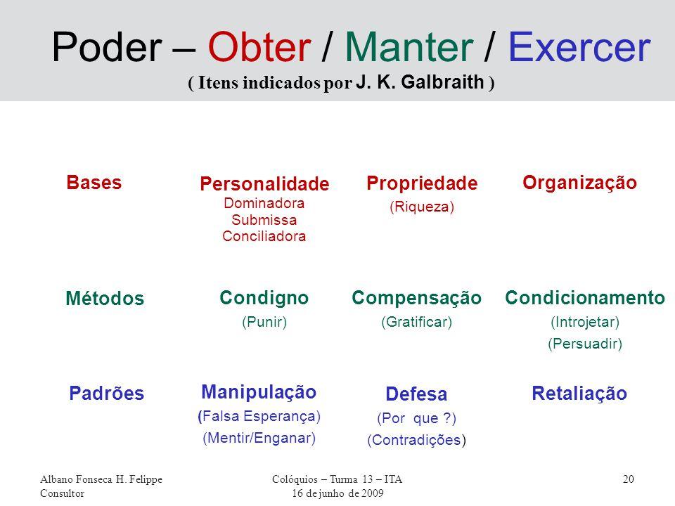 Bases Albano Fonseca H. Felippe Consultor Colóquios – Turma 13 – ITA 16 de junho de 2009 20 Poder – Obter / Manter / Exercer ( Itens indicados por J.