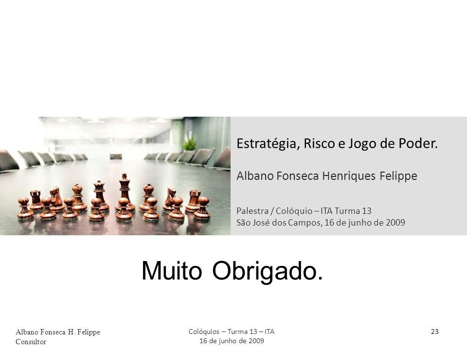 Estratégia, Risco e Jogo de Poder. Albano Fonseca Henriques Felippe Palestra / Colóquio – ITA Turma 13 São José dos Campos, 16 de junho de 2009 23 Mui